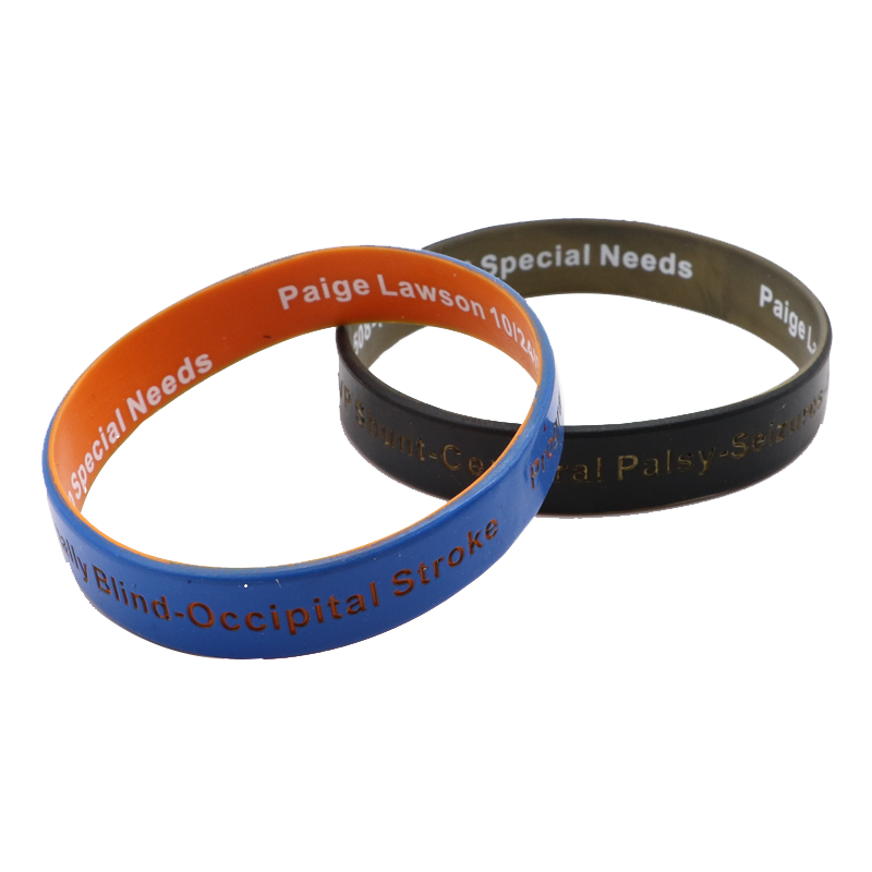 2 Layers Silicone Rubber Wristbands Bangles with High Quality