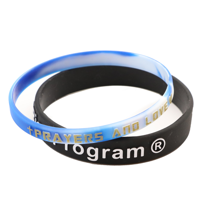 Skyee Silicone Embossed Printed Color Wristband Silicone Bracelet
