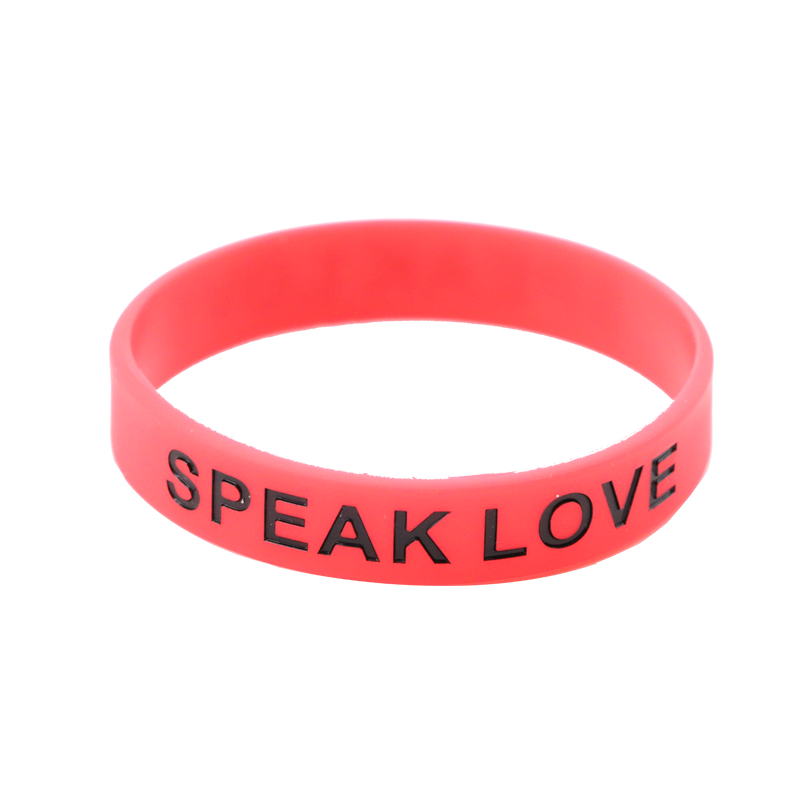 Skyee Custom debossed wide silicone wristband bracelet with color filled