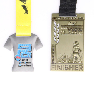Wholesale Cheap Custom Design Your Own Blank Zinc Alloy 3d Gold Metal Award Marathon Running Sport Medal with Ribbon